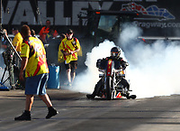Jun 16, 2017; Bristol, TN, USA; NHRA top fuel nitro Harley Davidson motorcycle rider Rickey House during qualifying for the Thunder Valley Nationals at Bristol Dragway. Mandatory Credit: Mark J. Rebilas-USA TODAY Sports