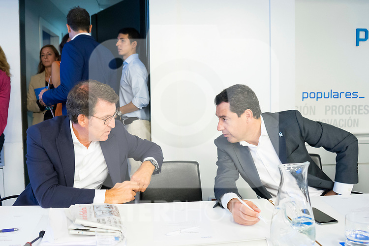 Alberto Nunez Feijoo (l) and Juan Manuel Moreno Bonilla during the General Council of Partido Popular. July 29, 2019. (ALTERPHOTOS/Francis González)