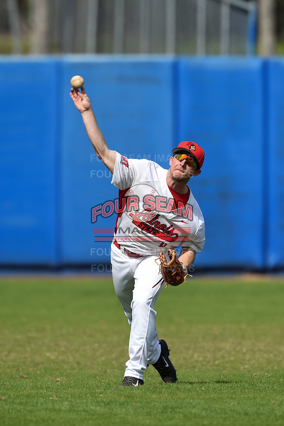 Illinois State Redbirds Caleb Ratzman (8) during practice before a game against the Bowling Green Falcons on March 11, 2015 at Chain of Lakes Stadium in Winter Haven, Florida.  Illinois State defeated Bowling Green 8-7.  (Mike Janes/Four Seam Images)