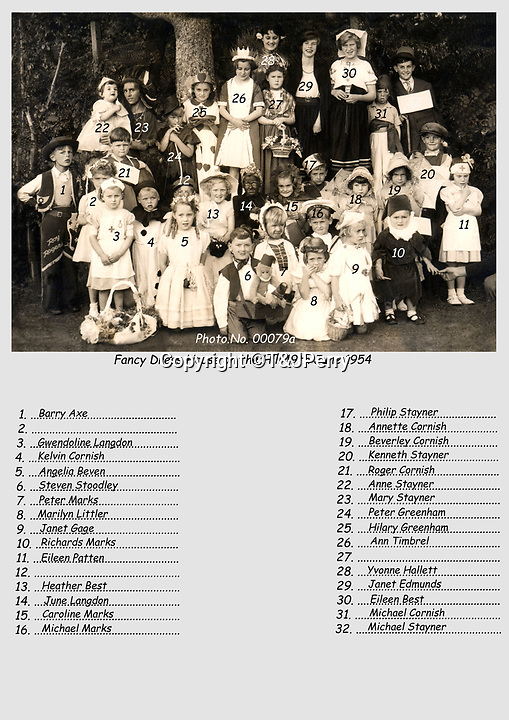 BNPS.co.uk (01202 558833)<br /> Pic: T&JPerry/BNPS<br /> <br /> 1954 village fancy dress photograph.<br /> <br /> The little changed Somerset village of Chiselborough whose residents have pieced together their history in photographs.<br /> <br /> A rural village's community has painstakingly put together its social history over the last 40 years, which is now going on display.<br /> <br /> Tony and June Perry first started collecting images of Chiselborough, in south Somerset, 40 years ago for the project which celebrates the village's people, traditions and buildings.<br /> <br /> Dozens of villagers have helped the couple compile 600 photos which are finally going to be shown in a new exhibition.<br /> <br /> The images, which date back to the 1860s, highlight many notable events in Chiselborough's history including the fire of 1890 which saw the pub burn down.<br /> <br /> Other photos show the silver jubilee party of 1935, a school fancy dress day in 1954 and the renovation of the village's 12th century church in 1971.<br /> <br /> Situated on the River Parrett, Chiselborough is five miles west of Yeovil and has a population of just 275 people.