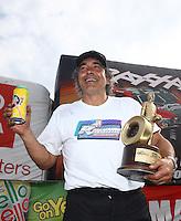 Mar 15, 2015; Gainesville, FL, USA; NHRA pro mod driver Bob Rahaim celebrates after winning the Gatornationals at Auto Plus Raceway at Gainesville. Mandatory Credit: Mark J. Rebilas-