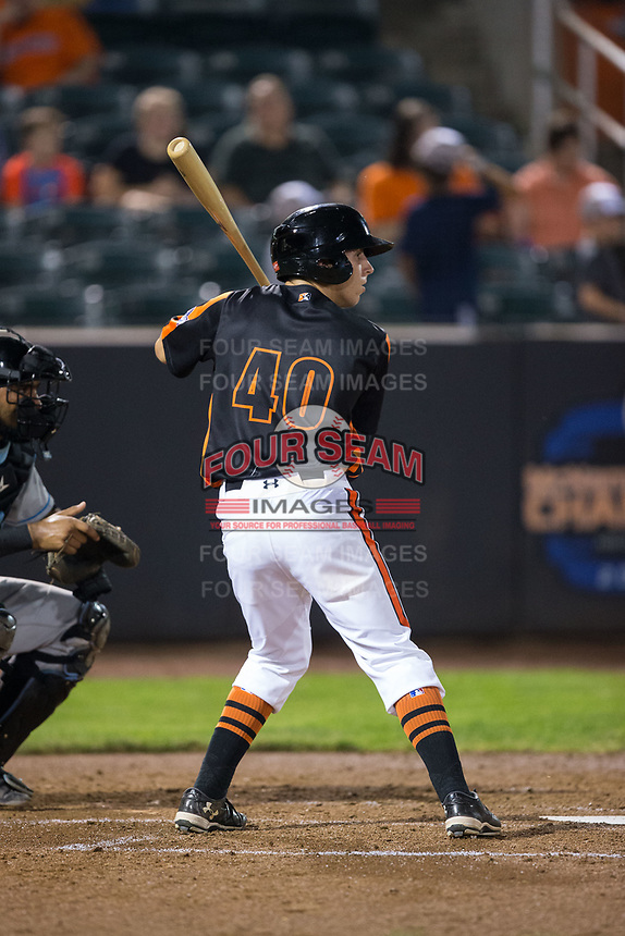 T.J. Nichting (40) of the Aberdeen IronBirds at bat against the Hudson Valley Renegades at Leidos Field at Ripken Stadium on July 27, 2017 in Aberdeen, Maryland.  The IronBirds defeated the Renegades 3-0 in game two of a double-header.  (Brian Westerholt/Four Seam Images)