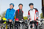 Tony Higgins,Ryan O'Sullivan and Stephen Keane at the start of the Fenit Lifeboat Cycle from O'Donnell's Mounthawk on Saturday morning