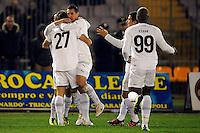 """Esultanza dopo il gol di Lorik Cana con Miroslav Klose Lazio 1-2.Goal celebration.Lecce 10/12/2011 Stadio """"Via del MAre"""".Football Calcio Serie A 2011/2012.Lecce Vs Lazio.Foto Insidefoto ."""