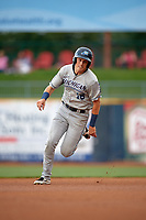 West Michigan Whitecaps right fielder Cole Bauml (16) runs the bases during the second game of a doubleheader against the Lake County Captains on August 6, 2017 at Classic Park in Eastlake, Ohio.  West Michigan defeated Lake County 9-0.  (Mike Janes/Four Seam Images)