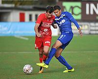 FC GULLEGEM - FC RUPEL BOOM :<br /> duel tussen Daan Debouver (L) en Jason Adesanya (R)<br /> <br /> Foto VDB / Bart Vandenbroucke