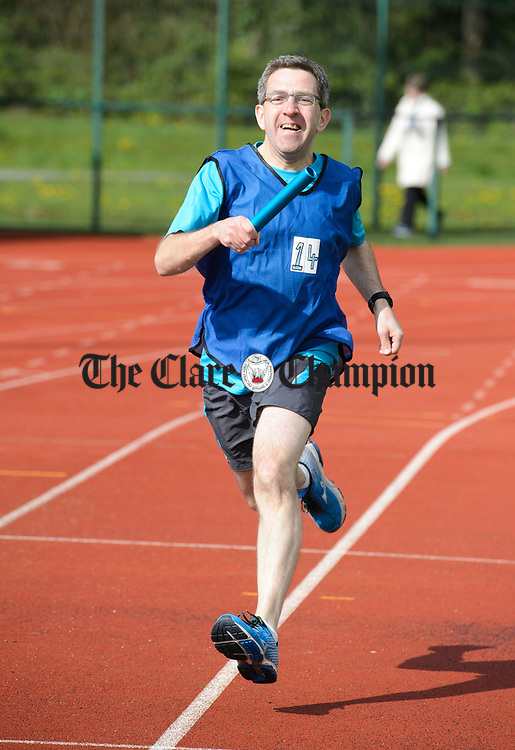 Gerry Lynam of Essilor taking part in the Craic On The Track Marathon in aid of Clare Crusaders in Lees Road, Ennis. Photograph by John Kelly.