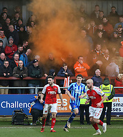 A smoke bomb is let off during the match<br /> <br /> Photographer Lee Parker/CameraSport<br /> <br /> The EFL Sky Bet League One - Fleetwood Town v Blackpool - Saturday 7th March 2020 - Highbury Stadium - Fleetwood<br /> <br /> World Copyright © 2020 CameraSport. All rights reserved. 43 Linden Ave. Countesthorpe. Leicester. England. LE8 5PG - Tel: +44 (0) 116 277 4147 - admin@camerasport.com - www.camerasport.com