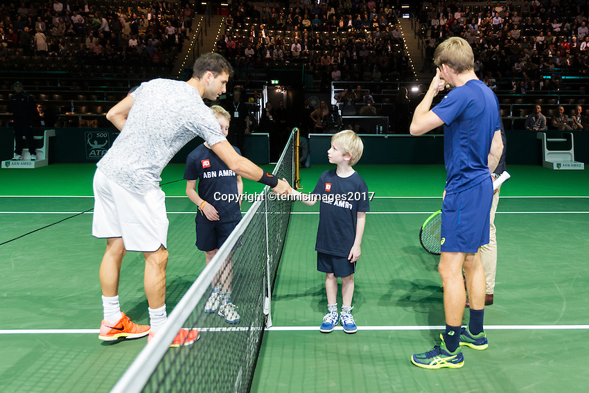 ABN AMRO World Tennis Tournament, Rotterdam, The Netherlands, 17 Februari, 2017, Grigor Dimitrov (BUL), David Goffin (BEL)<br /> Photo: Henk Koster