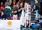 S&ouml;dert&auml;lje 2015-04-19 Basket SM-Final 1 S&ouml;dert&auml;lje Kings - Uppsala Basket :  <br /> Uppsalas  Axel Nordstr&ouml;m har skadat sig under matchen mellan S&ouml;dert&auml;lje Kings och Uppsala Basket <br /> (Foto: Kenta J&ouml;nsson) Nyckelord:  S&ouml;dert&auml;lje Kings SBBK T&auml;ljehallen Basketligan SM SM-Final Final Uppsala Basket skada skadan ont sm&auml;rta injury pain depp besviken besvikelse sorg ledsen deppig nedst&auml;md uppgiven sad disappointment disappointed dejected