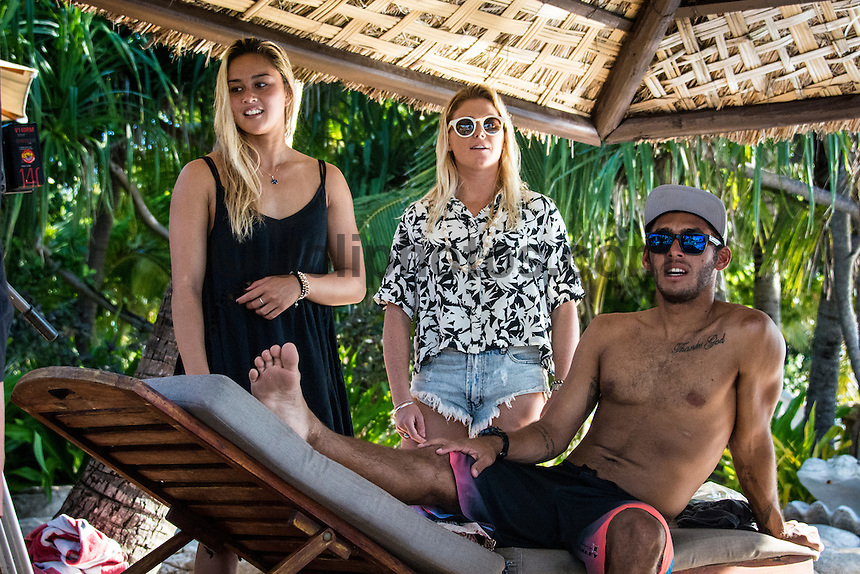 Namotu Island Resort, Namotu, Fiji. (Saturday May 31, 2014) Alessa Quizon (HAW), Dimity Stoyle (AUS) and  Jadson Andre (BRA) –  The official Opening Ceremony for the 2014 Fiji Pro was held this afternoon on Tavarua Island with a tradition blessing and kava ceremony for the officials and Top 34 surfers. Photo: joliphotos.com