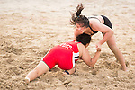 Wrestlers compete during the Beach Wrestling Women's competition between Japan and Chinese Taipei on Day Eight of the 5th Asian Beach Games 2016 at Bien Dong Park on 01 October 2016, in Danang, Vietnam. Photo by Marcio Machado / Power Sport Images