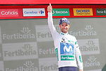 Alejandro Valverde (ESP) Movistar Team retains the Combativity Jersey at the end of at the end of Stage 11 of the La Vuelta 2018, running 207.8km from Mombuey to Ribeira Sacra. Luintra, Spain. 5th September 2018.<br /> Picture: Unipublic/Photogomezsport | Cyclefile<br /> <br /> <br /> All photos usage must carry mandatory copyright credit (&copy; Cyclefile | Unipublic/Photogomezsport)