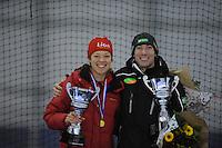 SCHAATSEN: GRONINGEN: Sportcentrum Kardinge, 03-02-2013, Seizoen 2012-2013, Gruno Bokaal, Yvonne Nauta en Ted-Jan Bloemen winnen Gruno Bokaal 2013, ©foto Martin de Jong