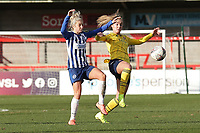 Kirsty Barton of Brighton and Jill Roord of Arsenal during Brighton & Hove Albion Women vs Arsenal Women, Barclays FA Women's Super League Football at Broadfield Stadium on 12th January 2020