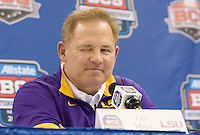 LSU head coach Les Miles winks while talking with the reporters during BCS Media Day at Mercedes-Benz Superdome in New Orleans, Louisiana on January 6th, 2012.