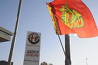 - Alfa Romeo workers' demonstration against the decision of FIAT company to close the historic plant in Arese (Milan) and lay-off last 400 workers ....- Manifestazione dei lavoratori  Alfa Romeo contro la decisione della FIAT di chiudere lo storico stabilimento  di Arese (Milano) e mettere in mobilità gli ultimi 400 operai