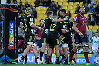 Sam Lousi celebrates his try during the Super Rugby match between the Hurricanes and Reds at Westpac Stadium in Wellington, New Zealand on Friday, 18 May 2018. Photo: Dave Lintott / lintottphoto.co.nz