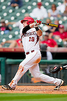 Jake Wise #19 of the Arkansas Razorbacks follows through on his swing against the Texas Tech Red Raiders at Minute Maid Park on March 2, 2012 in Houston, Texas.  The Razorbacks defeated the Red Raiders 3-1. (Brian Westerholt/Four Seam Images)