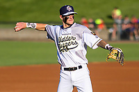 Wisconsin Timber Rattlers shortstop Brice Turang (2) warms up prior to a Midwest League game against the Clinton LumberKings on June 20, 2019 at Fox Cities Stadium in Appleton, Wisconsin. Wisconsin defeated Clinton 5-2. (Brad Krause/Four Seam Images)