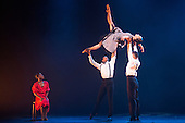 London, UK. 17 March 2016. L-R: Cira Robinson, Jacob Wye, Sayaka Ichikawa and Joshua Harriette. Storyville by Christopher Hampson. Ballet Black present a Triple Bill at the Barbican Theatre on 18 and 19 March 2016. Premiere of Cristaux choreographed by Arthur Pita, the premiere of To Begin, Begin by Christopher Marney and a reworked version of Storyville by Christopher Hampson. Dancers performing are Cira Robinson, Kanika Carr, Isabela Coracy, Sayaka Ichikawa, Damien Johnson, Jacob Wye, Mthuthuzeli November and Joshua Harriette.