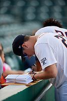 Bowling Green Hot Rods pitcher Justin Marsden (27) signs autographs for fans before a game against the Peoria Chiefs on September 15, 2018 at Bowling Green Ballpark in Bowling Green, Kentucky.  Bowling Green defeated Peoria 6-1.  (Mike Janes/Four Seam Images)