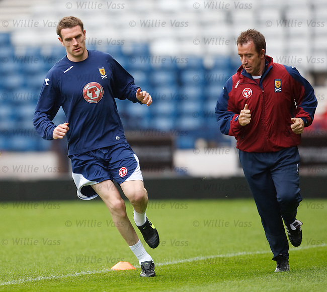 Stephen McManus undergoing a fitness test with the Scotland physio