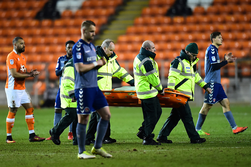 Blackpool's Nathan Delfouneso is stretchered off<br /> <br /> Photographer Richard Martin-Roberts/CameraSport<br /> <br /> The EFL Sky Bet League One - Blackpool v Charlton Athletic - Tuesday 13th March 2018 - Bloomfield Road - Blackpool<br /> <br /> World Copyright &copy; 2018 CameraSport. All rights reserved. 43 Linden Ave. Countesthorpe. Leicester. England. LE8 5PG - Tel: +44 (0) 116 277 4147 - admin@camerasport.com - www.camerasport.com