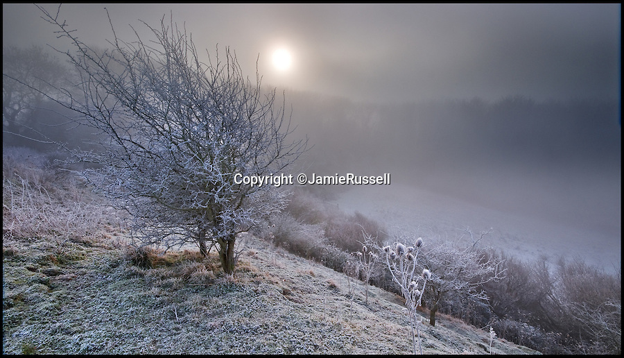 BNPS.co.uk (01202 558833)<br /> Pic: JamieRussell/BNPS<br /> <br /> ***Please Use Full Byline***<br /> <br /> A hoar frost at Knighton.<br /> <br /> Stunning photographs have revealed a turbulent side to the normally genteel Isle of Wight.<br /> <br /> The seemingly benign south coast holiday destination has been catalogued over a stormy year by local photographer Jamie Russell, and his astonishing pictures reveal the dramatic changes in weather that roll across the UK in just 12 months.<br /> <br /> Lightning storms, ice, floods, gales and blizzards have all been captured by the intrepid photographer who frequently got up in the middle of the night to capture the climatic chaos.<br /> <br /> Looking at these pictures prospective holidaymakers could be forgiven for thinking twice about a gentle staycation on the south coast island.