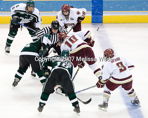 Brandon Gentile (Michigan State - Clarkston, MI), Bryan Lerg (Michigan State - Livonia, MI), Chris Mueller (Michigan State - West Seneca, NY), Brock Bradford (Boston College - Burnaby, BC), Brian Boyle (Boston College - Hingham, MA), Nathan Gerbe (Boston College - Oxford, MI) - The Michigan State Spartans defeated the Boston College Eagles 3-1 (EN) to win the national championship in the final game of the 2007 Frozen Four at the Scottrade Center in St. Louis, Missouri on Saturday, April 7, 2007.