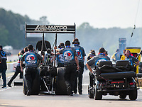 May 3, 2019; Commerce, GA, USA; Crew members for NHRA top fuel driver Antron Brown during qualifying for the Southern Nationals at Atlanta Dragway. Mandatory Credit: Mark J. Rebilas-USA TODAY Sports