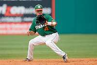 Shortstop Stephen Perez #4 of the Miami Hurricanes fields a ground ball against the Virginia Cavaliers at the 2010 ACC Baseball Tournament at NewBridge Bank Park May 29, 2010, in Greensboro, North Carolina.  The Cavaliers defeated the Hurricanes 12-8.  Photo by Brian Westerholt / Four Seam Images