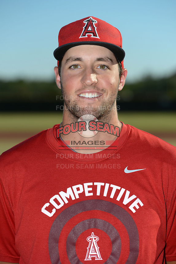 Los Angeles Angels pitcher Nate Smith (28) poses for a photo after an Instructional League game against the Milwaukee Brewers on October 11, 2013 at Tempe Diablo Stadium Complex in Tempe, Arizona.  (Mike Janes/Four Seam Images)