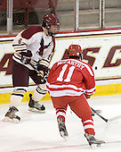 Pat Morris (BC - 8), Sean McCarthy (BU - 11) - The Boston College Eagles defeated the visiting Boston University Terriers 6-2 in ACHA play on Sunday, December 4, 2011, at Kelley Rink in Conte Forum in Chestnut Hill, Massachusetts.