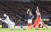 Nikolche Noveski scores the opener in the Scotland v Macedonia FIFA World Cup Qualifying match at Hampden Park, Glasgow on 11.9.12.