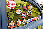 March 31, 2013 - Garden City, New York, U.S. - These decals are on side window of A. Racine's 1955 Chevrolet sedan, a Gasser class racing car, at the 58th Annual Easter Sunday Vintage Car Parade and Show sponsored by the Garden City Chamber of Commerce. Hundreds of authentic old motorcars, 1898-1988, including antiques, classic, and special interest participated in the parade.