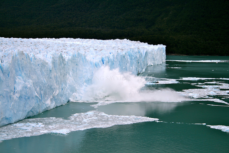Large piece of ice collapses as the glacier advances, Perito Moreno Glacier, Patagonia, Argentina | Feb 08