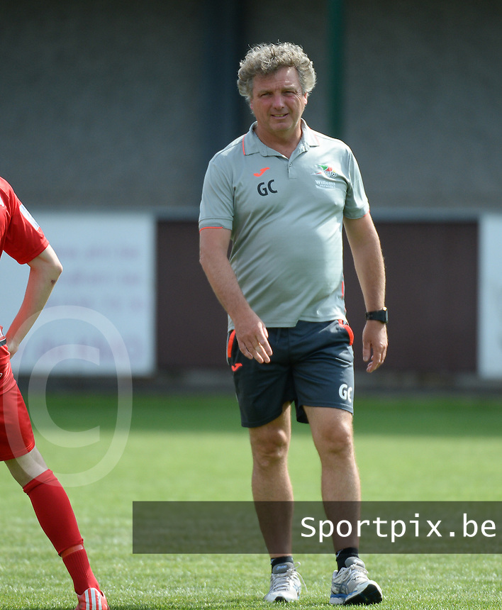 20150627 - INGELMUNSTER , BELGIUM : Oostende's physical coach Gino Caen pictured during a friendly match between Belgian first division team KV Oostende and Belgian fourth division soccer team OMS Ingelmunster , during the preparations for the 2015-2016 season, Saturday 27th June 2015 in Ingelmunster. PHOTO DAVID CATRY