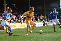 Stevie Hammell controls the ball watched by Alan Maybury (left) and David Robertson in the Motherwell v St Johnstone Clydesdale Bank Scottish Premier League match played at Fir Park, Motherwell on 28.4.12.