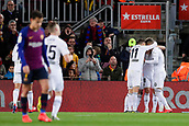2nd February 2019, Camp Nou, Barcelona, Spain; La Liga football, Barcelona versus Valencia; Gameiro of Valencia CF celebrates scoring the opening goal in the 24th minute