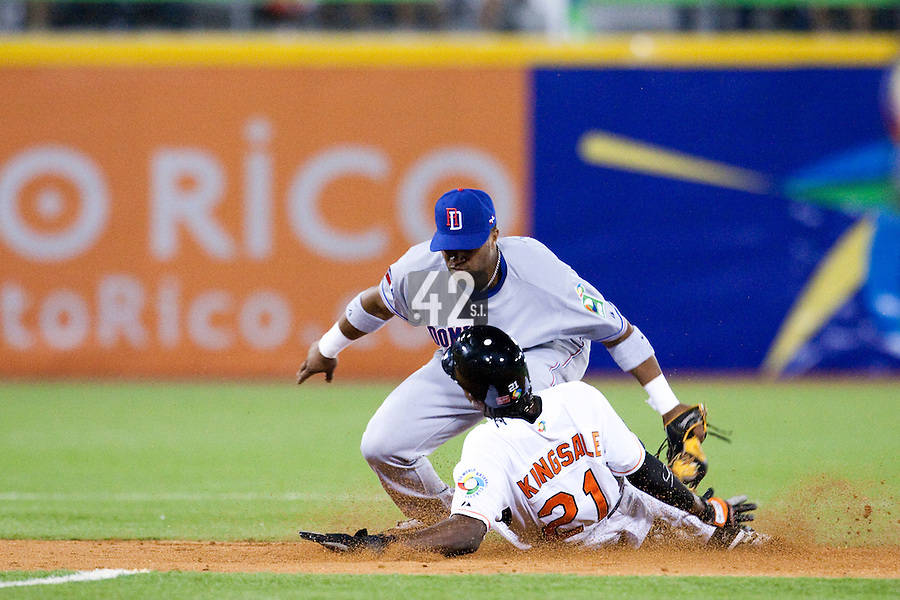 10 March 2009: #24 Robinson Cano of the Dominican Republic tags out #21 Eugene Kingsale of the Netherlands during the 2009 World Baseball Classic Pool D game 5 at Hiram Bithorn Stadium in San Juan, Puerto Rico. The Netherlands pulled off second upset to advance to the secound round. The Netherlands come from behind in the bottom of the 11th inning and beat the Dominican Republic, 2-1.