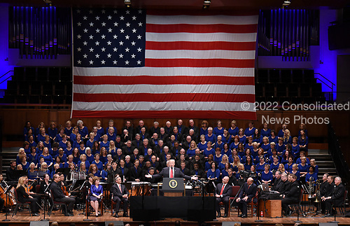 United States President Donald J. Trump makes remarks during the Celebrate Freedom Rally at the John F. Kennedy Center for the Performing Arts in Washington, DC, on July 1, 2017. <br /> Credit: Olivier Douliery / Pool via CNP