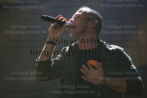Italian singer Eros Ramazotti performs in Papp Laszlo Sports Arena during his concert tour.