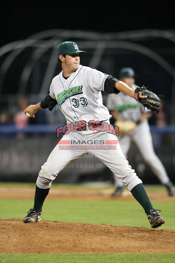 September 5, 2009:  Relief Pitcher Josh Hodges of the Jamestown Jammers delivers a pitch during a game at Dwyer Stadium in Batavia, NY.  The Jammers are the NY-Penn League Short-Season Class-A affiliate of the Florida Marlins.  Photo By Mike Janes/Four Seam Images