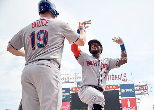 New York Mets shortstop Jose Reyes (7) celebrates his lead-off, first inning home run with right fielder Jay Bruce (19) during the game against the Washington Nationals at Nationals Park in Washington, D.C. on Tuesday, July 4, 2017.  <br /> Credit: Ron Sachs / CNP<br /> (RESTRICTION: NO New York or New Jersey Newspapers or newspapers within a 75 mile radius of New York City)