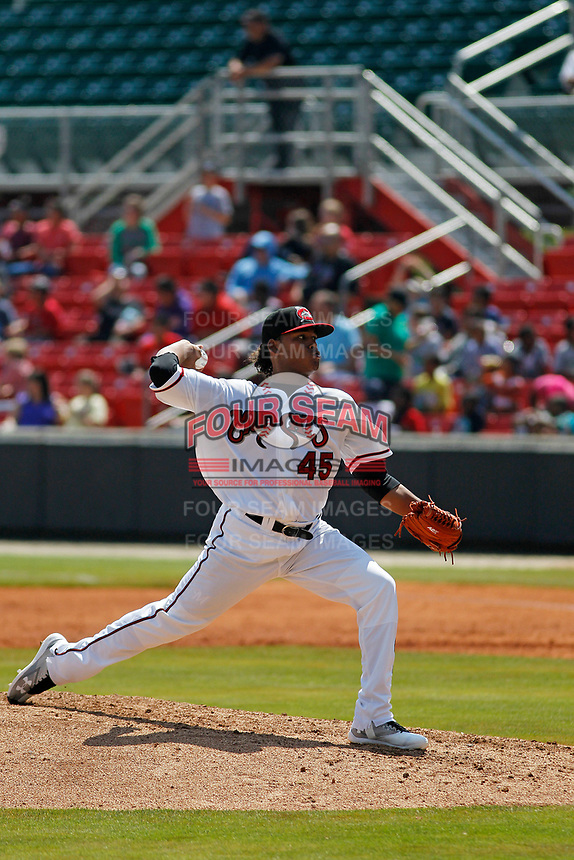 Carolina Mudcats pitcher Freddy Peralta (45) on the mound during a game against the Down East Wood Ducks on April 27, 2017 at Five County Stadium in Zebulon, North Carolina. Carolina defeated Down East 9-7. (Robert Gurganus/Four Seam Images)