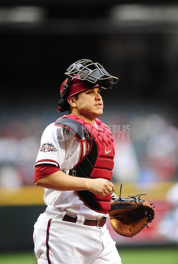 May 31, 2011; Phoenix, AZ, USA; Arizona Diamondbacks catcher Miguel Montero against the Florida Marlins at Chase Field. Mandatory Credit: Mark J. Rebilas-