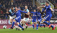 Burnley's Peter Crouch battles with Leicester City's Christian Fuchs<br /> <br /> Photographer Rich Linley/CameraSport<br /> <br /> The Premier League - Burnley v Leicester City - Saturday 16th March 2019 - Turf Moor - Burnley<br /> <br /> World Copyright © 2019 CameraSport. All rights reserved. 43 Linden Ave. Countesthorpe. Leicester. England. LE8 5PG - Tel: +44 (0) 116 277 4147 - admin@camerasport.com - www.camerasport.com