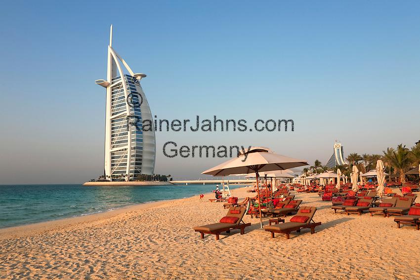 United Arab Emirates, Dubai: View along beach to the Burj Al Arab and Jumeirah Beach Hotel