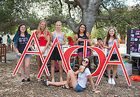 Occidental College Alpha Lambda Phi Alpha Sorority students at the Involvement Fair in the Academic Quad, Sept. 10, 2015. The annual event is an opportunity for students to learn about and join student-run clubs that offer a wide variety of interests.<br />